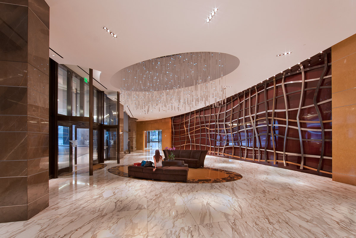 Lobby of the JW Marriott Marquis in gowntown Miami offers a luxury hospitality experience.