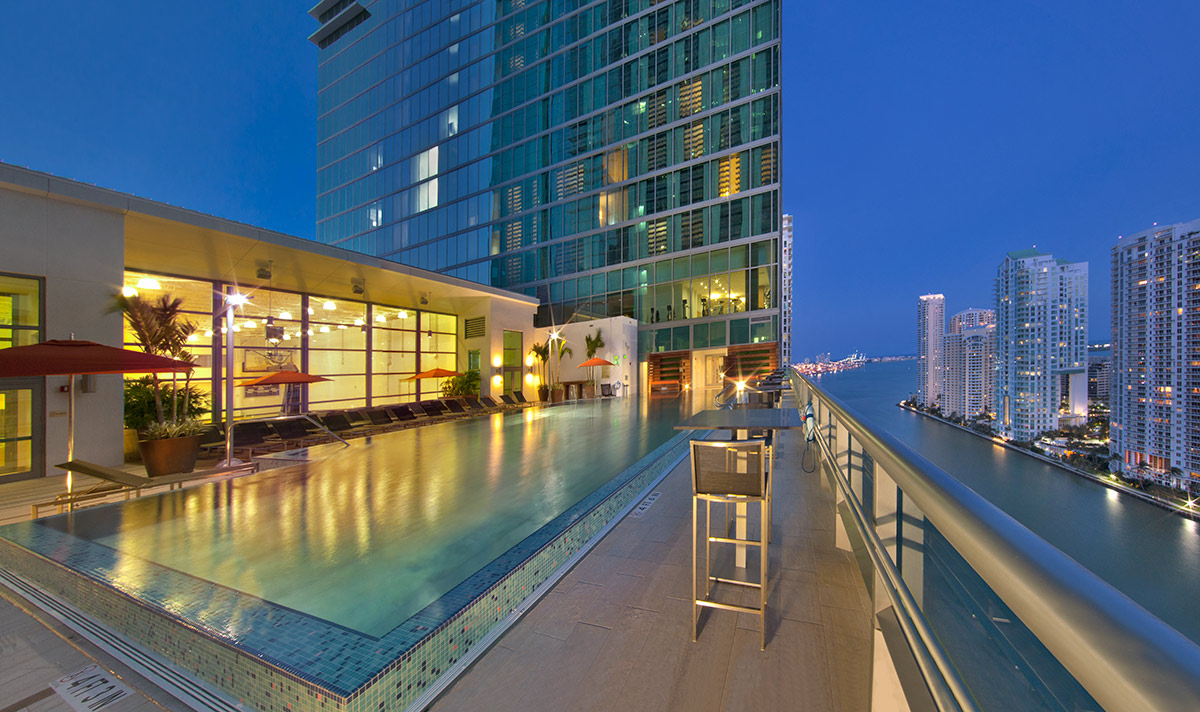 Pool View of the JW Marriott Marquis in downtown Miami provides a luxury hospitality experience.