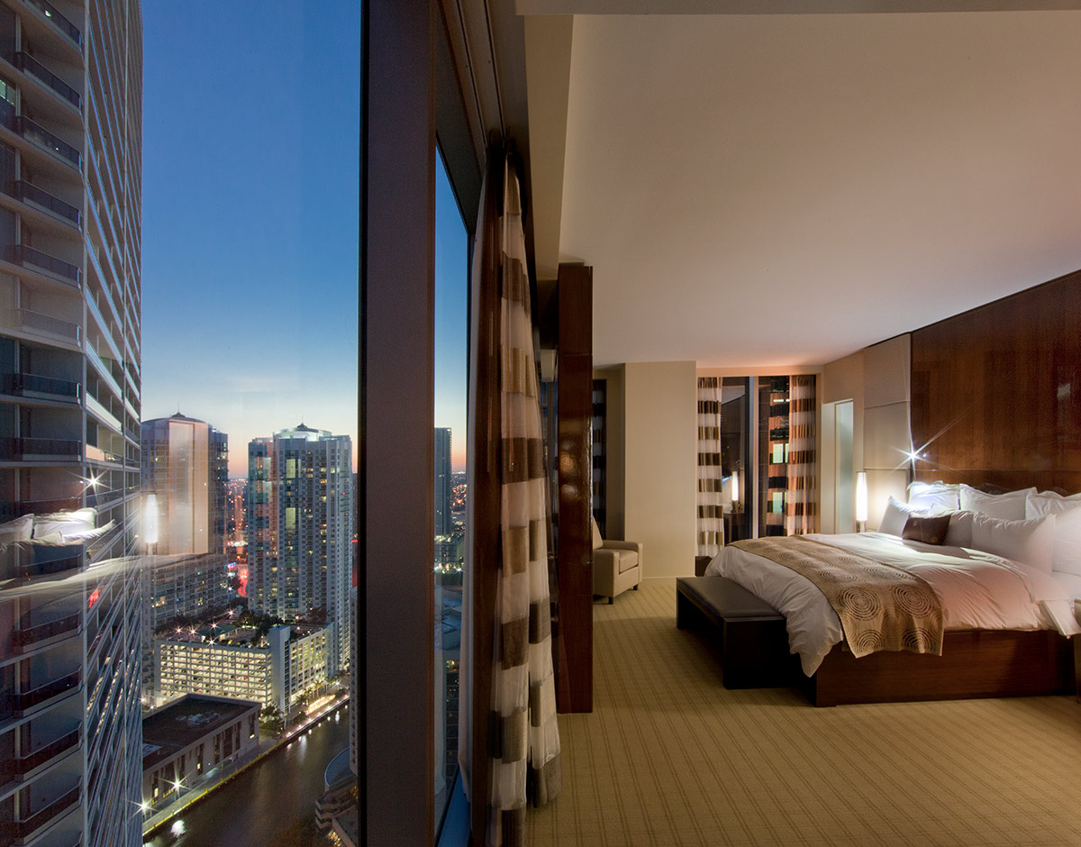 This suite at the JW Marriott Marquis in downtown Miami provides a luxury hospitality experience.