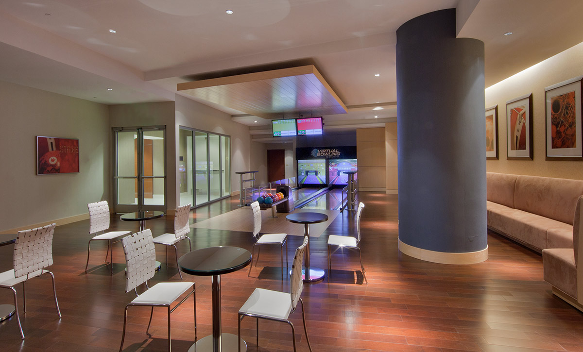 The game room at the JW Marriott Marquis in downtown Miami provides a luxury hospitality experience.