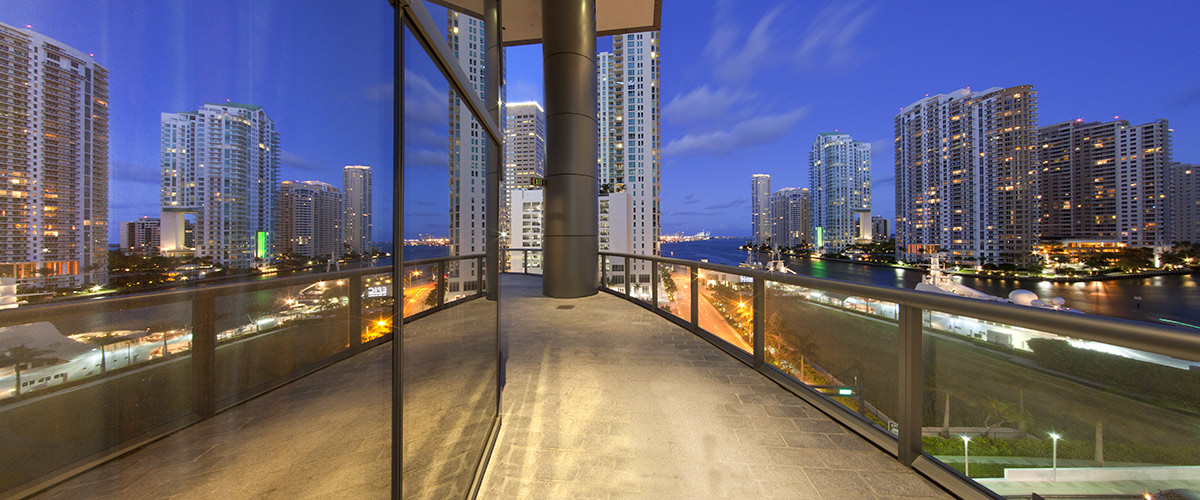 The dusk terrace view at the JW Marriott Marquis in downtown Miami provides a luxury hospitality experience.