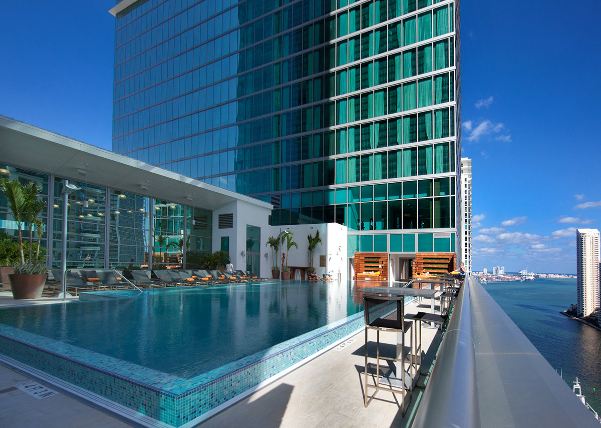 Pool View of the JW Marriott Marquis in downtown Miami providing a luxury hospitality experience.