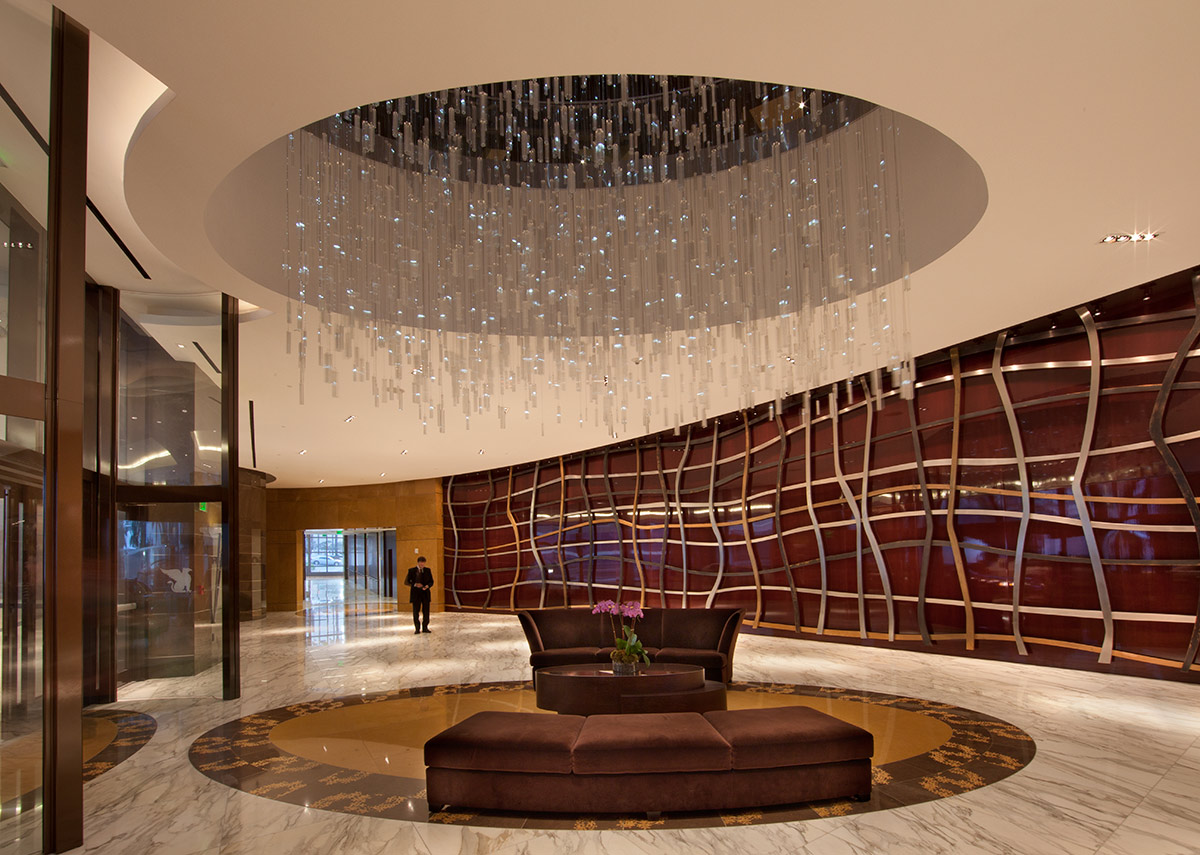 Lobby of the JW Marriott Marquis in downtown Miami provides a luxury hospitality experience.