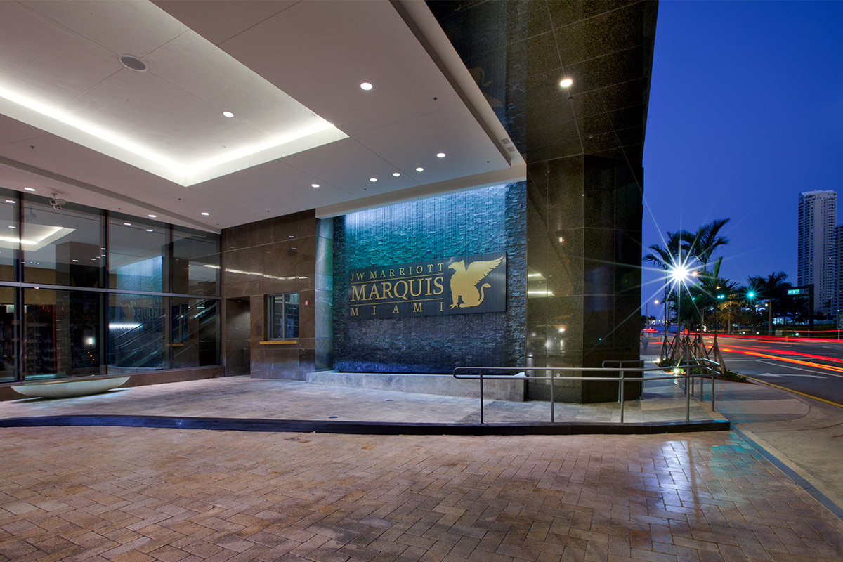The entrance to the JW Marriott Marquis in downtown Miami providing a luxury hospitality experience.